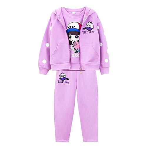 L PATTERN Kinder Mädchen 3tlg Bekleidungsset Sportanzug Trainingsanzug Joggingsanzug(Sweatjacke + T-Shirt + Jogginghose),lila,122