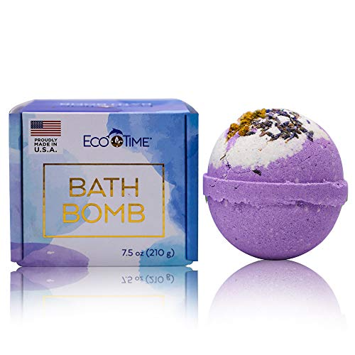 HANDMADE in USA - Gift Box - 7.5 oz LAVENDER & CHAMOMILE Extra Large Bath Bomb - Natural and Organic for Women Teens Kids – Bubble and Fizzies Bath Bombs with Moisturizing Shea Butter Spa for Bath