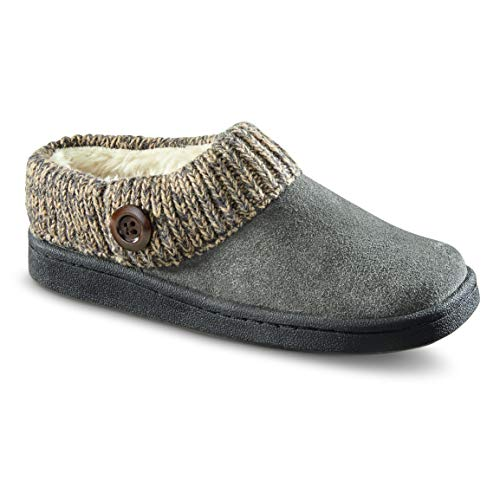 Guide Gear Women's Suede Clog Slippers with Sweater Button Collar, Gray, 8B (Medium)