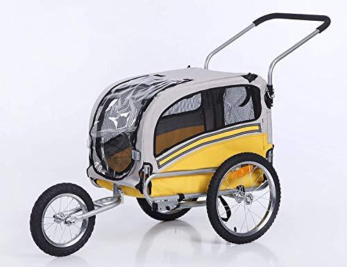 Sepnine Remolque Bicicleta Perros Carro Cochecito para Transporte Mascota 2 En 1 Convertible En Carro para Correr con Barra Y Kit De Footing Amarillo