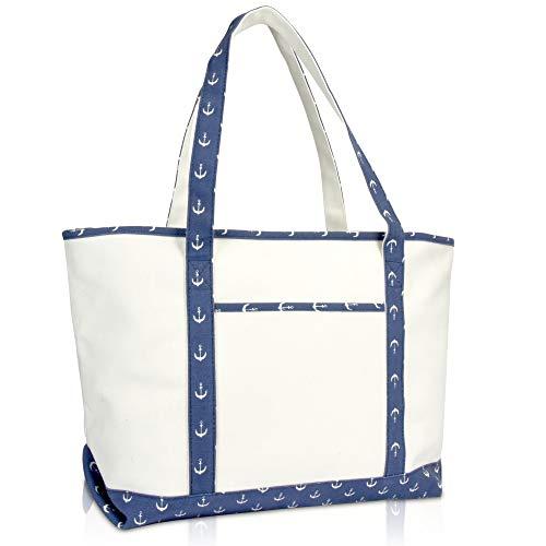 DALIX 23' Premium 24 oz. Cotton Canvas Shopping Tote Navy Blue Anchor