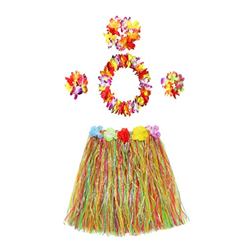SUPVOX Kid's Elastic Hawaiian Hula Dancer Grass Skirt with Flower Costume Set