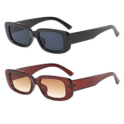 Grainas Gafas de sol rectangulares para mujer y hombre, unisex, estilo vintage, delgadas, protección UV400, color Marrón, talla M