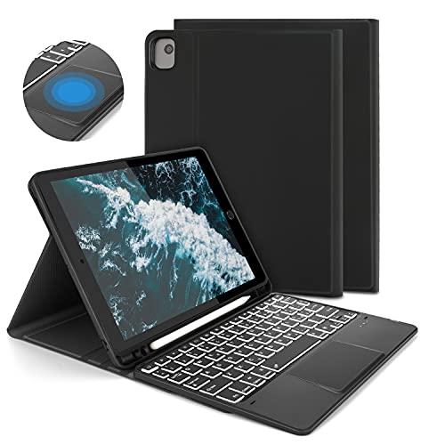 "Custodia con Tastiera Touchpad per iPad 10.2"" 7a/8a Gen, iPad Air 3 10.5"", iPad Pro10.5"", Tastiera Bluetooth Retroilluminata, Rimovibile, Layout Italiano QWERTY, Cover per iPad 10.2 2020/2019, Nero"