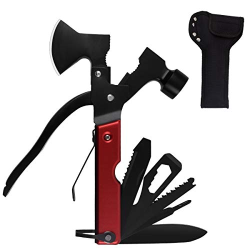 Multitool Camping Tool Survival Gear Hammer Multi tool Gifts for Men Women 14 in 1 Pocket Stainless Steel Sturdy Multi Tool with Axe Hammer Saw Plier Knife Screwdrivers Bottle Opener Durable Sheath