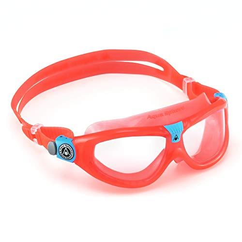 Aqua Sphere Seal Kid 2 Swim Mask with Clear Lens (Coral/Aqua) - UV Protection Anti-Fog Swim Goggles for Kids