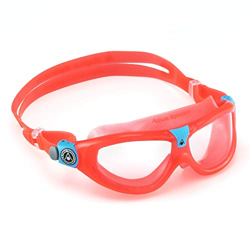 Aqua Sphere Seal Kid 2 Swim Mask with Clear Lens (Coral/Aqua) -  UV Protection Anti-Fog Swim Goggles for Kids