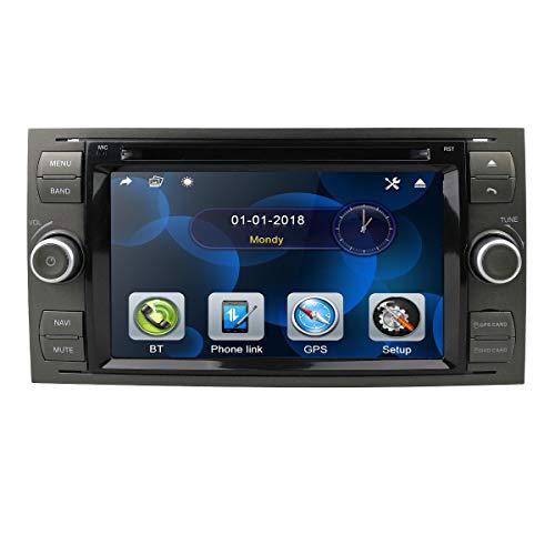 Radio de Coche Reproductor de DVD 2 DIN 7 Pulgadas Radio Navegación GPS Skonsole en Dash Headunit para Ford Focus Soporte Pantalla táctil Bluetooth Enlace Espejo Control del Volante Cámara