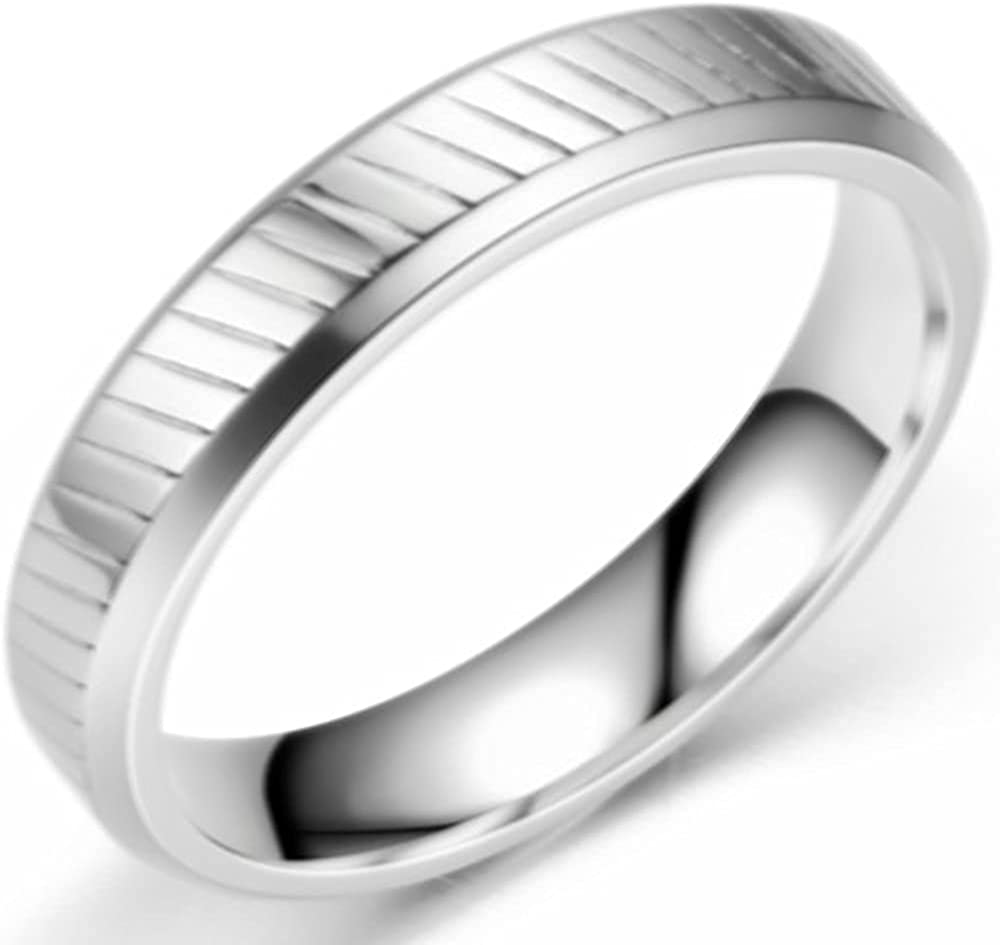 4mm 6mm Stainless Steel Classic Simple Plain Grooved Wedding Band Ring