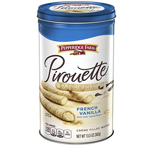 PACK OF 8 - Pepperidge Farm Pirouette French Vanilla Créme Filled Wafers 13.5 oz. Canister
