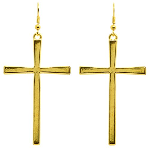 Bluebubble CLASSIC CROSS 60mm Cross Earrings (Gold Plated) Gift Boxed