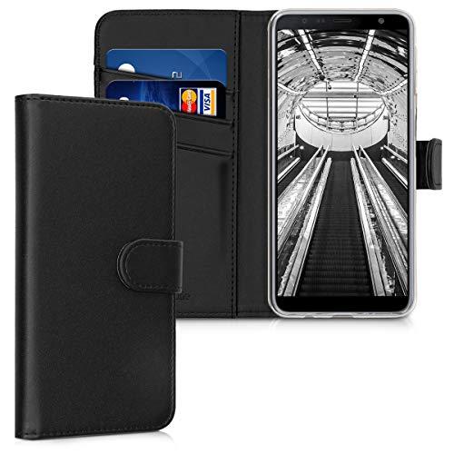 kwmobile Wallet Hülle kompatibel mit Samsung Galaxy J4+ / J4 Plus DUOS - Hülle Kunstleder mit Kartenfächern Stand in Schwarz