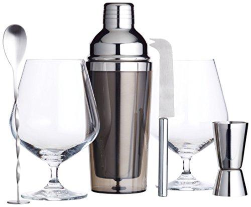 BarCraft, Luxuriöses Gin-Geschenkset mit Gin-Gläsern, Cocktail-Shaker, Cocktail-Rührlöffel, Doppelseitigem Barmaß, Barmesser und Getränkemix-Rezept – Edelstahl