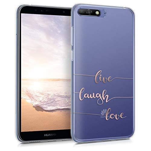 kwmobile Funda Compatible con Huawei Y6 (2018) - Carcasa de TPU Live, Laugh, Love en Oro Rosa/Transparente