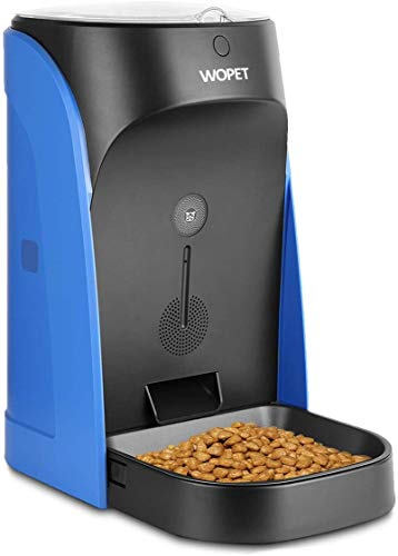 WOPET Automatic Pet Feeder Stainless Steel Bowl with Portion Control,Dog and Cat Feeder with Voice Recorder & Speaker--Timer Programmer up to 4 Meals a Day (Blue)