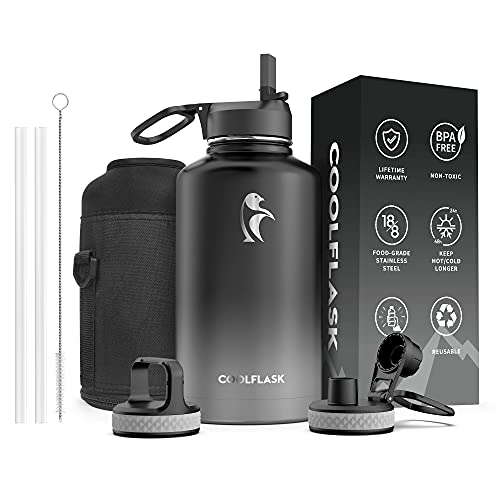 Water Bottle 64 oz with Reusable Straw & Spout Lid, Coolflask Vacuum Stainless Steel Wide Mouth Half...