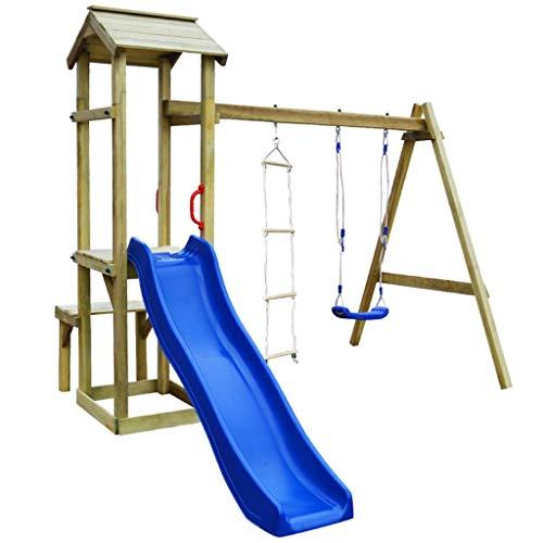vidaXL Parque Infantil con Tobogán Escaleras y Columpio Madera Juego de Niños