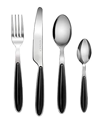 Exzact EX07 - 16 pcs Flatware Cutlery Set - Stainless Steel With Color Handles - 4 Forks, 4 Dinner Knives, 4 Dinner Spoons, 4 Teaspoons