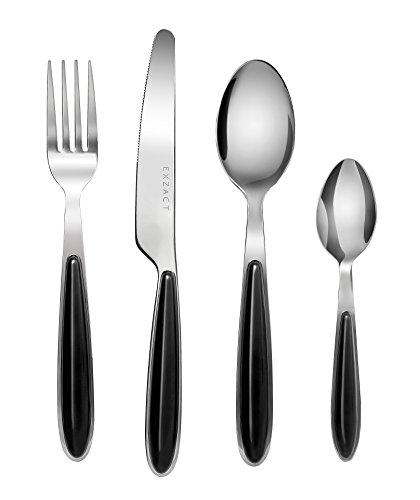 Exzact cubertería Acero Inoxidable con Asas de Color - 4 x Cena tenedors, 4 x Cuchillos, 4 x cucharas Cena, 4 x cucharaditas (Negro x 16) (EX07-16 pcs)