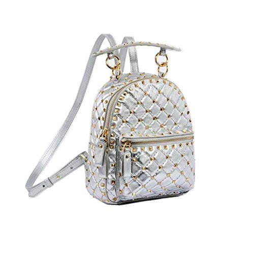 DKLGH Backpack ladies fashion rivet leather backpack mini travel backpack for girls anti-theft backpack-silvery