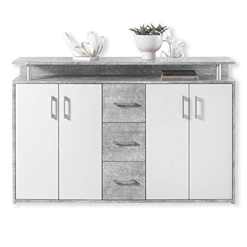 Unbekannt Sideboard Drift - Beton-Weiß - 139 cm