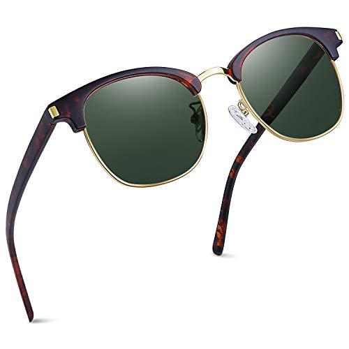 Joopin Gafas de Sol Polarizadas Hombre Media Montura con Protección UV400 Clásicas Retro Gafas para Hombre y Mujer Oliva