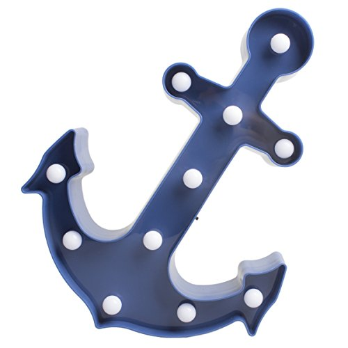 Anchor Marquee Light LED Plastic Lamp Night Light Birthday Party Decoration for Kids' Room Anchor Party Light Wall Table Lamp Gifts for Boys Blue