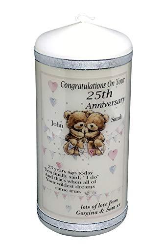 Biglietto Di Auguri Per 25° Anniversario Di Matrimonio, In Argento, Personalizzabile