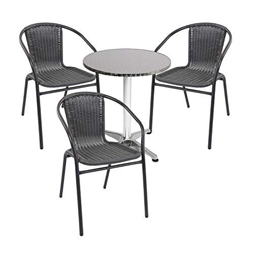 Mojawo - Juego de mesa y sillas apilables (4 piezas, aluminio, 60 x 70 x 110 cm, altura regulable, 3 sillas apilables, acero/ratán), color negro
