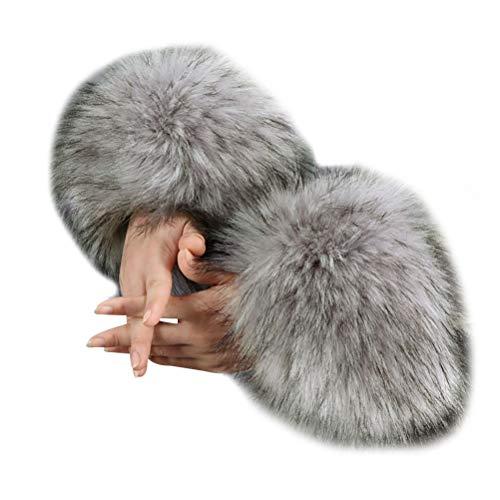 vannawong Manguitos de piel sintética para mujer, para climas fríos, calentadores de brazos, mullidos, suaves, elásticos, suaves, accesorios para disfraz. gris claro Talla única