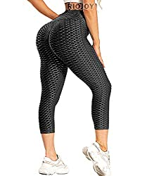 ♥ HONEYCOMB TEXTURED - The honeycomb texture of these capris completely conceals any dimples or cellulite. It is perfect for all kinds sports. If you put it on when you do exercise, you will feel comfortable and free. ♥ HIGH WAIST - The waist band is...