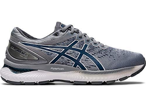 ASICS Men's Gel-Nimbus 22 Knit Running Shoes, 10M, Piedmont Grey/MAKO Blue