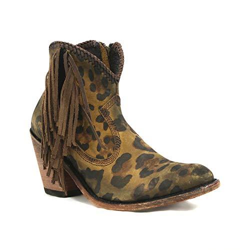 XLBHSH Womens lederen laarzen Luipaard enkellaarzen kwast PU lederen laarzen puntige teen hoge hak franje laarzen laarzen
