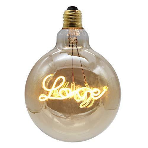 Y-XM E27 Amore a forma di LED Filamento morbido Lampadina Vintage Edison Lampadine 4W 220V oscuramento Caldo Oro Bicchiere antico Lampada