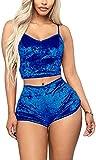 Pijamas para Mujer de Terciopelo Verano Conjuntos de 2 Piezas Ropa para Dormir Mujer Entero Sexy Sin Mangas Camisola + Pantalones Cortos (Azul Gema, S)