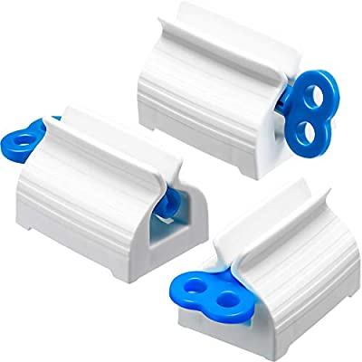3 Pieces Rolling Tube Toothpaste Squeezer Toothpaste Seat Holder Stand Rotate Toothpaste Dispenser for Bathroom