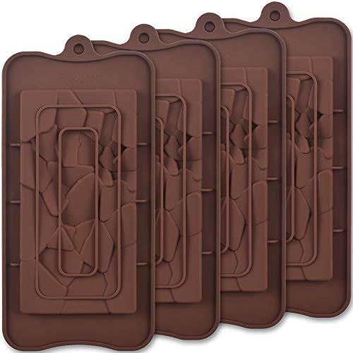 ionEgg Break Apart Moules à chocolat en silicone, Moules à barres de chocolat Fragments, Moules à barres protéinées et énergétiques faits maison, 4 paquets