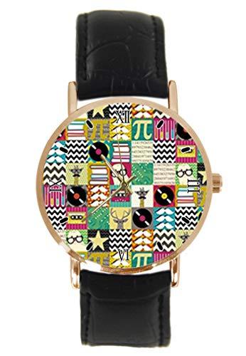 Cartoon Giraffe Musik Disc Schnurrbart Chevron Pi Book Star Armbanduhr Fashion Classic Unisex Analog Quarz Edelstahl Gehäuse Lederband Uhren