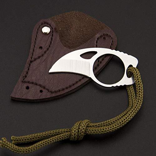 MICSTRO Stahl Finger Klaue mit Leder-Etui Haken-Messer für Camping und Outdoor