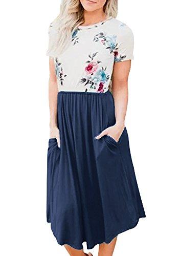 Yidarton Damen Sommer Kleid Kurzarm Blumendruck Patchwork Casual Plissee Midikleid mit Taschen, Marineblau, L