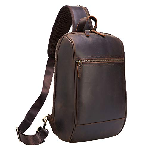 Polare Full Grain Leather Classic Travel/Hiking Daypack Rucksack Sling Chest Bag for Men Fit Slim 13.3