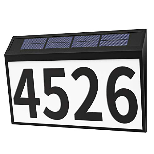 House Numbers Plaque, Homlux Solar Powered LED Light Address Number Signs, IP44 Waterproof for Home Yard Outdoor Street Outside Wall, Packed with 3 Sets Numbers (0-9) & 26 Letters Self Stickers-Black