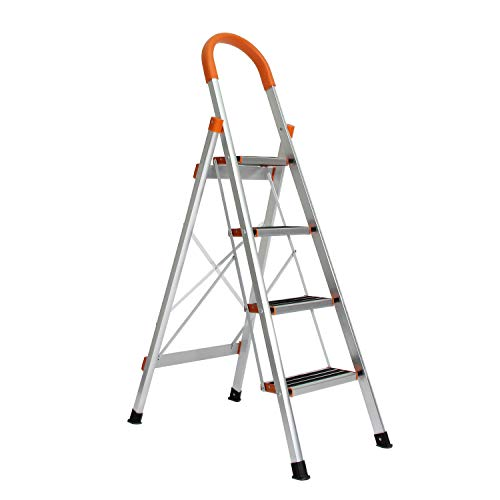 SogesHome Escalera de 4 escalones de aluminio con empuñadura Escalera plegable con escalones antideslizantes Escalera de mano para el hogar Escalera de mano plegable, NSD-JF-004