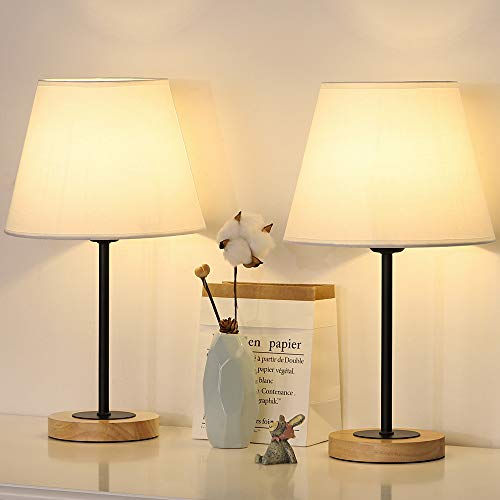 Small Table Lamps Set of 2, Bedside Desk Lamps for Bedroom Nightstands, Coffee Tables, Dressers, Living Rooms, White Cylinder Fabric Shade, Wood Base