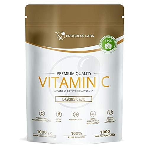 Progress Labs Vitamin C 1000mg Powder Förpackning med 1 x 1000g - L-Askorbinsyra - Vegan - Antioxidant - Rent Pulver - 1000 Portioner - 1kg