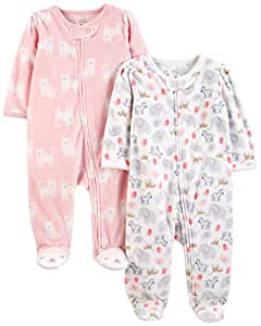 Simple Joys by Carter's 2-Pack Fleece Footed Sleep Play Infant-and-Toddler-Bodysuit-Footies, White Animals Green/Pink Kitty, Bebé prematuro,