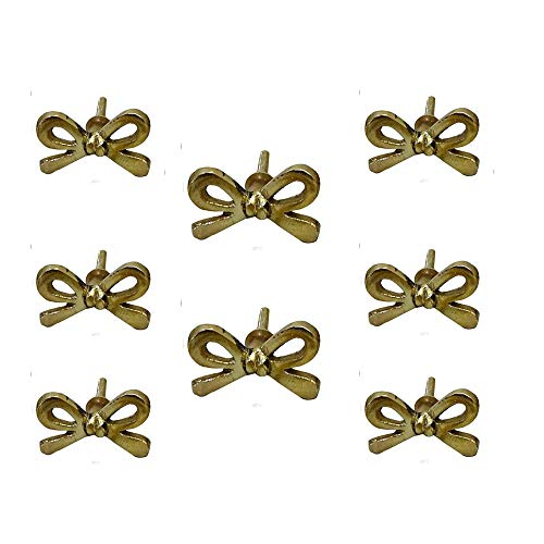 Set of 8 Brass Metal Bow knobs Kitchen Cabinet Cupboard Door Knobs Dresser Wardrobe and Drawer Pull by Perilla Home
