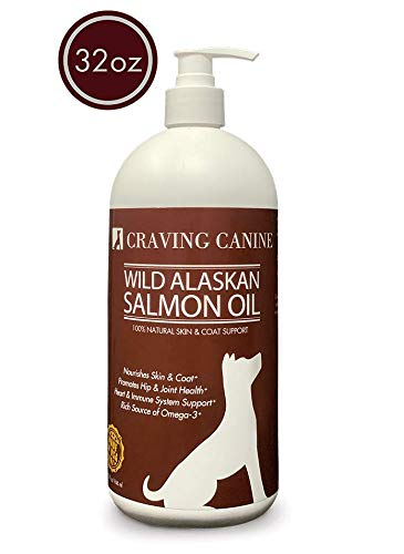 Craving Canine Salmon Oil For Dogs- Less Shedding & Licking! Omega 3 Fish Oil Great For Pill-Spitting Dog! Vitamin E Oil To Reduce Skin Flakiness! Best Fish Oil For Dogs Needing Coat & Immune Support!