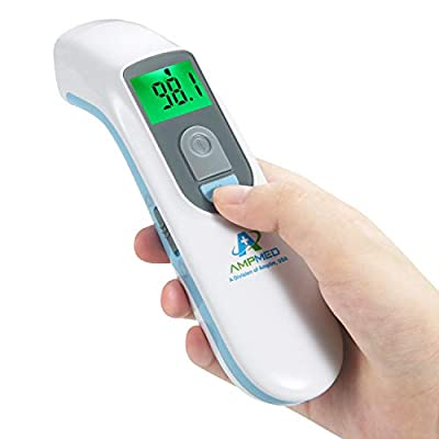 Amplim Hospital Medical Grade No Touch Non Contact Digital Infrared Temporal Forehead Thermometer for Adult/Baby/Kid/Toddler/Infant/ Nurse. Best for Head Fever Temperatures Termometro - Blue by Amplim