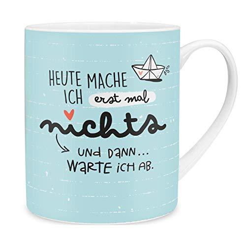 Happy Life 46253 XL-Tasse mit Spruch Heute mache ich erstmal nichts, maritim mit Schiffchen, Porzellan, 60 cl